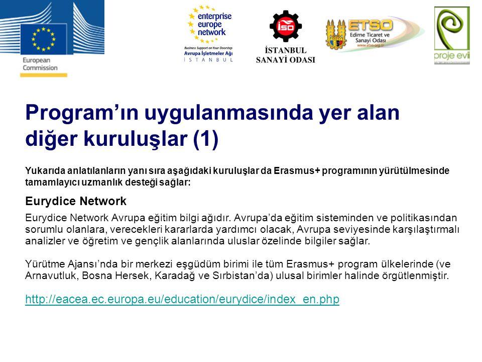 Program'ın uygulanmasında yer alan diğer kuruluşlar (1) Yukarıda anlatılanların yanı sıra aşağıdaki kuruluşlar da Erasmus+ programının yürütülmesinde