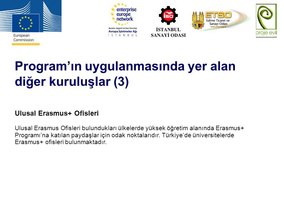Program'ın uygulanmasında yer alan diğer kuruluşlar (3) Ulusal Erasmus+ Ofisleri Ulusal Erasmus Ofisleri bulundukları ülkelerde yüksek öğretim alanınd