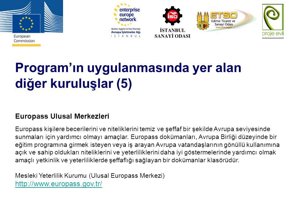 Program'ın uygulanmasında yer alan diğer kuruluşlar (5) Europass Ulusal Merkezleri Europass kişilere becerilerini ve niteliklerini temiz ve şeffaf bir