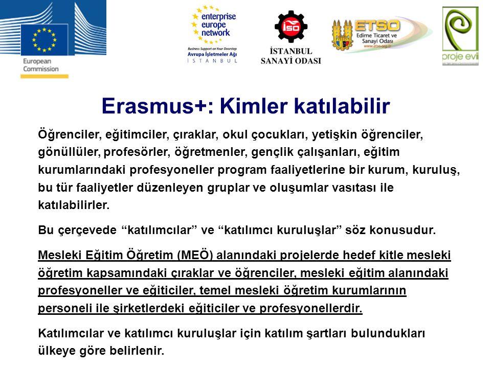 Erasmus+: Uygun ülkeler / Program ülkeleri AB üyesi ülkeler Belçika Bulgaristan Çek Cumhuriyeti Danimarka Almanya Estonya İrlanda Yunanistan İspanya Fransa Hırvatistan İtalya Kıbrıs Latvia Litvanya Lüksemburg Macaristan Malta Hollanda Avusturya Polonya Portekiz Romanya Slovenya Slovakya Finlandiya İsveç Birleşik Krallık AB üyesi olmayan ülkeler Eski Yugoslavya Cumhuriyeti Makedonya İzlanda Lihtenştayn Norveç İsviçre Türkiye Aşağıdaki ülkeler Erasmus+ programının tüm faaliyetlerine tam olarak katılabilir: