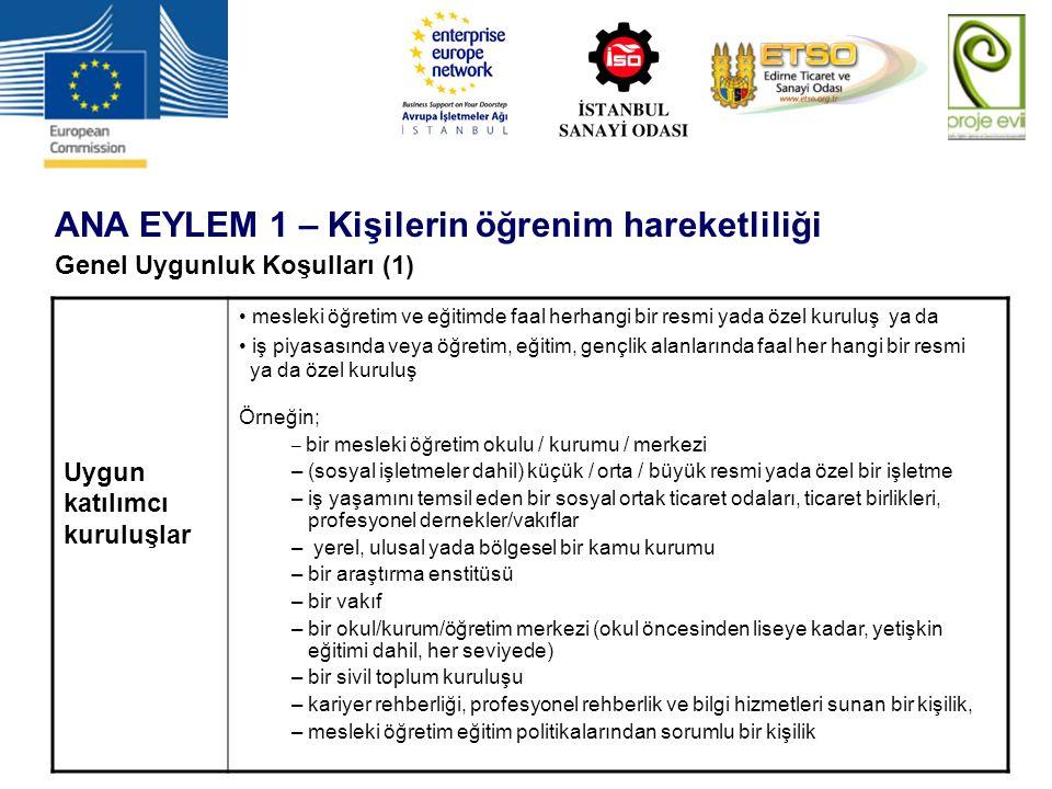 ANA EYLEM 1 – Kişilerin öğrenim hareketliliği Genel Uygunluk Koşulları (1) Uygun katılımcı kuruluşlar mesleki öğretim ve eğitimde faal herhangi bir re
