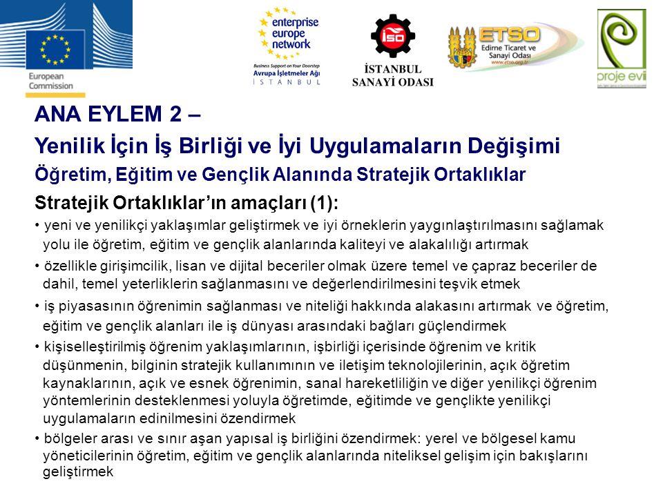 ANA EYLEM 2 – Yenilik İçin İş Birliği ve İyi Uygulamaların Değişimi Öğretim, Eğitim ve Gençlik Alanında Stratejik Ortaklıklar Stratejik Ortaklıklar'ın