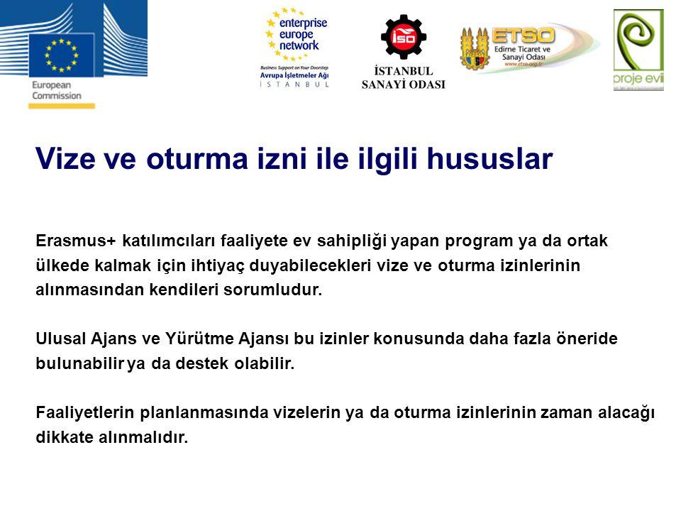 Vize ve oturma izni ile ilgili hususlar Erasmus+ katılımcıları faaliyete ev sahipliği yapan program ya da ortak ülkede kalmak için ihtiyaç duyabilecek