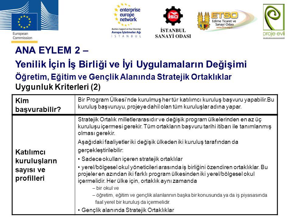 ANA EYLEM 2 – Yenilik İçin İş Birliği ve İyi Uygulamaların Değişimi Öğretim, Eğitim ve Gençlik Alanında Stratejik Ortaklıklar Uygunluk Kriterleri (2)