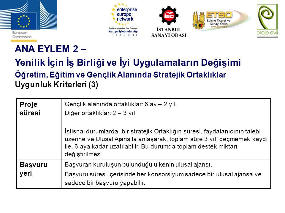 ANA EYLEM 2 – Yenilik İçin İş Birliği ve İyi Uygulamaların Değişimi Öğretim, Eğitim ve Gençlik Alanında Stratejik Ortaklıklar Uygunluk Kriterleri (3)