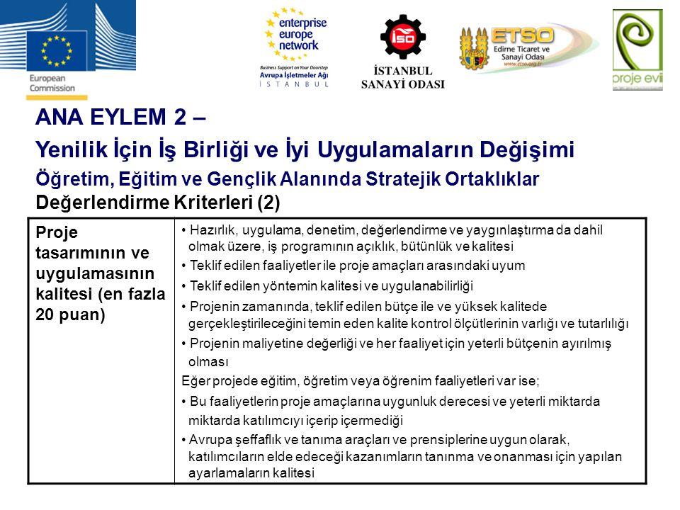 ANA EYLEM 2 – Yenilik İçin İş Birliği ve İyi Uygulamaların Değişimi Öğretim, Eğitim ve Gençlik Alanında Stratejik Ortaklıklar Değerlendirme Kriterleri