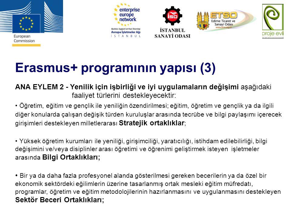 Erasmus+ programının yapısı (4) ANA EYLEM 2 - Yenilik için işbirliği ve iyi uygulamaların değişimi aşağıdaki faaliyet türlerini destekleyecektir (devam): Yüksek öğrenim ile gençlik alanlarında Ortak Ülkeler ile işbirliğini destekleyen Kapasite Geliştirme projeleri.