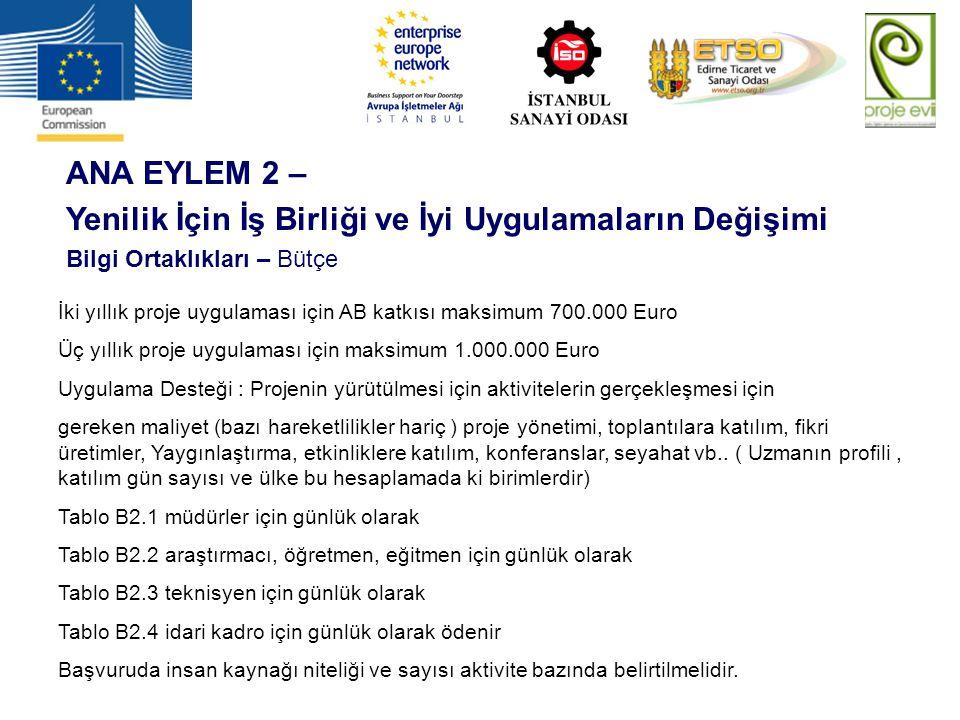 İki yıllık proje uygulaması için AB katkısı maksimum 700.000 Euro Üç yıllık proje uygulaması için maksimum 1.000.000 Euro Uygulama Desteği : Projenin