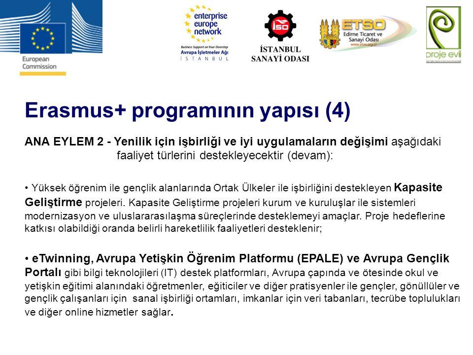 Erasmus+ programının yapısı (5) ANA EYLEM 3 – Politika reformuna destek aşağıdaki faaliyet türlerini destekleyecektir: Olgu temelli polika üretimi ve Avrupa 2020 çerçevesinde izlenmesi için Öğretim, eğitim ve gençlik alanlarında bilgi, özellikle :  akademik ağ ile derin iş birliği halinde, ülkeye özel ve tematik analizler,  Öğretim, eğitim ve gençlik için Eşgüdümde Açık Metod yolu ile eşli öğrenme ve eşli değerlendirme Paydaşlar arasında yenilikçi politikaların geliştirilmesini teşvik etmek ve karar vericileri yenilikçi politikaların etkinliğini, sağlam değerlendirme metotlarına dayanarak saha tecrübeleri ile test etmek için Müstakbel Girişimler;