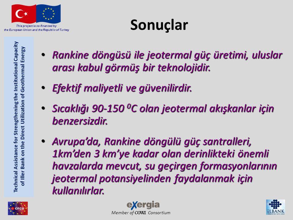 Member of Consortium This project is co-financed by the European Union and the Republic of Turkey Sonuçlar Rankine döngüsü ile jeotermal güç üretimi, uluslar arası kabul görmüş bir teknolojidir.