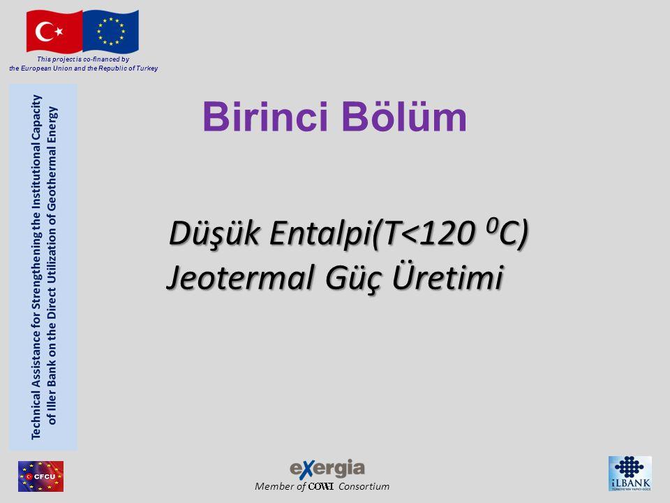 Member of Consortium This project is co-financed by the European Union and the Republic of Turkey Düşük Entalpi(T<120 0 C) Jeotermal Güç Üretimi Düşük