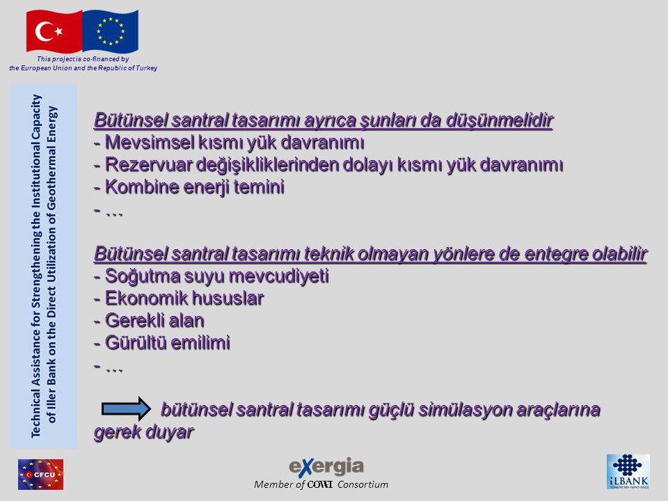 Member of Consortium This project is co-financed by the European Union and the Republic of Turkey Bütünsel santral tasarımı ayrıca şunları da düşünmelidir - Mevsimsel kısmı yük davranımı - Rezervuar değişikliklerinden dolayı kısmı yük davranımı - Kombine enerji temini - … Bütünsel santral tasarımı teknik olmayan yönlere de entegre olabilir - Soğutma suyu mevcudiyeti - Ekonomik hususlar - Gerekli alan - Gürültü emilimi - … bütünsel santral tasarımı güçlü simülasyon araçlarına gerek duyar