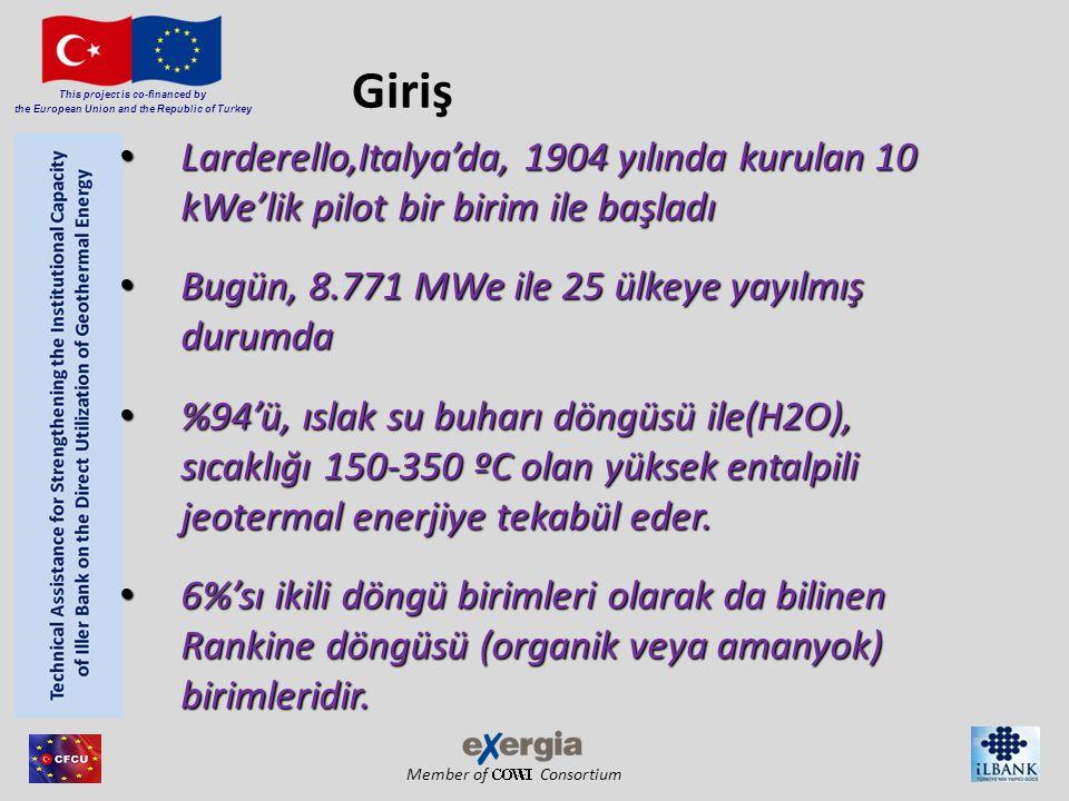 Member of Consortium This project is co-financed by the European Union and the Republic of Turkey Giriş Larderello,Italya'da, 1904 yılında kurulan 10 kWe'lik pilot bir birim ile başladı Larderello,Italya'da, 1904 yılında kurulan 10 kWe'lik pilot bir birim ile başladı Bugün, 8.771 MWe ile 25 ülkeye yayılmış durumda Bugün, 8.771 MWe ile 25 ülkeye yayılmış durumda %94'ü, ıslak su buharı döngüsü ile(H2O), sıcaklığı 150-350 ºC olan yüksek entalpili jeotermal enerjiye tekabül eder.