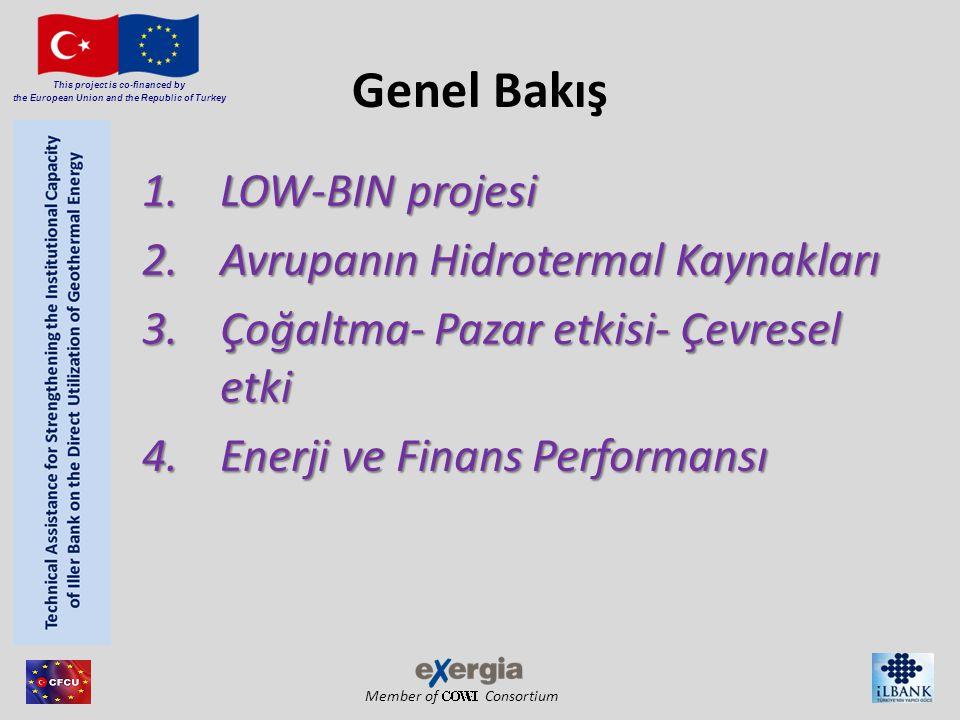 Member of Consortium This project is co-financed by the European Union and the Republic of Turkey Genel Bakış 1.LOW-BIN projesi 2.Avrupanın Hidrotermal Kaynakları 3.Çoğaltma- Pazar etkisi- Çevresel etki 4.Enerji ve Finans Performansı