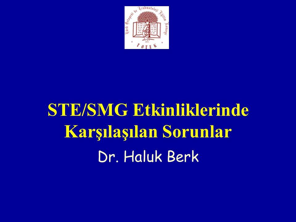 STE/SMG Etkinliklerinde Karşılaşılan Sorunlar Dr. Haluk Berk