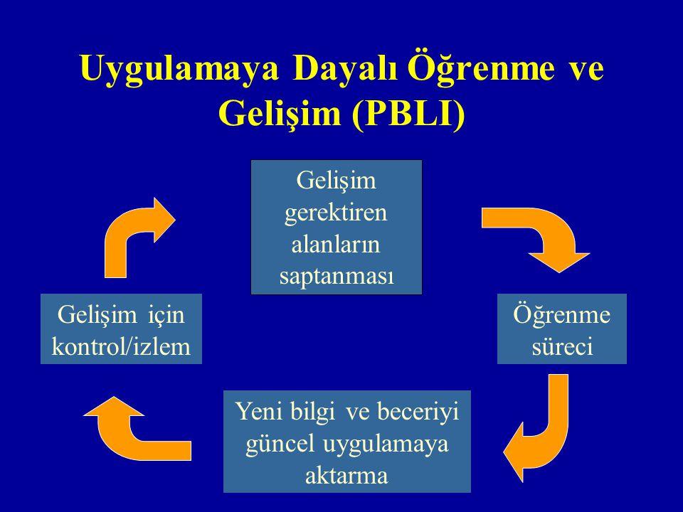 Uygulamaya Dayalı Öğrenme ve Gelişim (PBLI) Gelişim gerektiren alanların saptanması Öğrenme süreci Yeni bilgi ve beceriyi güncel uygulamaya aktarma Gelişim için kontrol/izlem