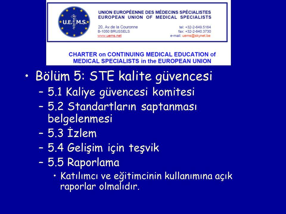 Bölüm 5: STE kalite güvencesi –5.1 Kaliye güvencesi komitesi –5.2 Standartların saptanması belgelenmesi –5.3 İzlem –5.4 Gelişim için teşvik –5.5 Raporlama Katılımcı ve eğitimcinin kullanımına açık raporlar olmalıdır.