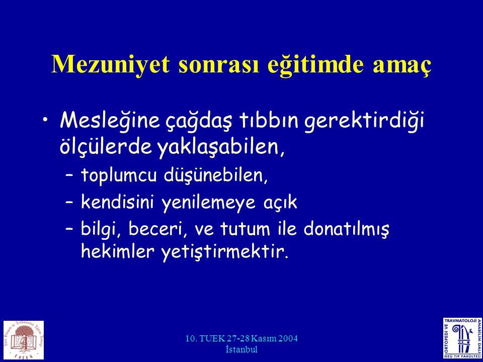 10. TUEK 27-28 Kasım 2004 İstanbul Mezuniyet sonrası eğitimde amaç Mesleğine çağdaş tıbbın gerektirdiği ölçülerde yaklaşabilen, –toplumcu düşünebilen,