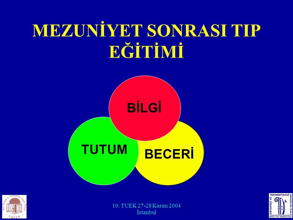 10. TUEK 27-28 Kasım 2004 İstanbul MEZUNİYET SONRASI TIP EĞİTİMİ BİLGİ BECERİ TUTUM