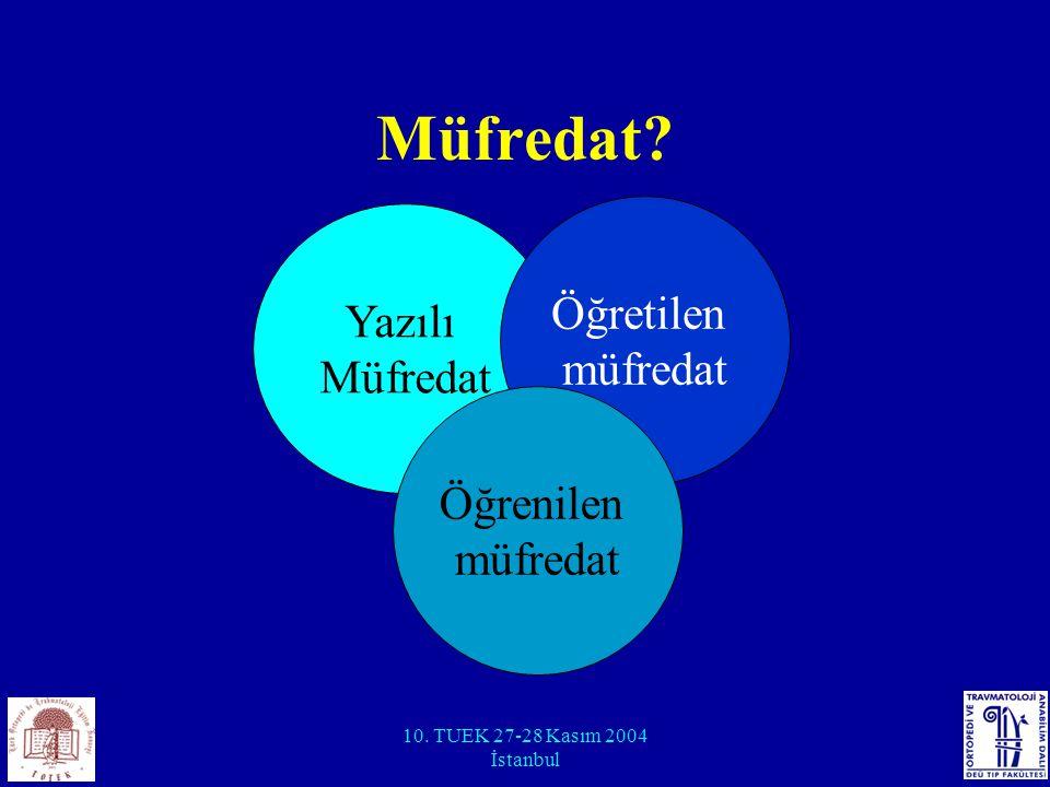 10. TUEK 27-28 Kasım 2004 İstanbul Müfredat? Yazılı Müfredat Öğretilen müfredat Öğrenilen müfredat