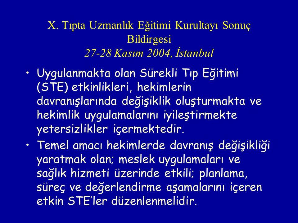 X. Tıpta Uzmanlık Eğitimi Kurultayı Sonuç Bildirgesi 27-28 Kasım 2004, İstanbul Uygulanmakta olan Sürekli Tıp Eğitimi (STE) etkinlikleri, hekimlerin d