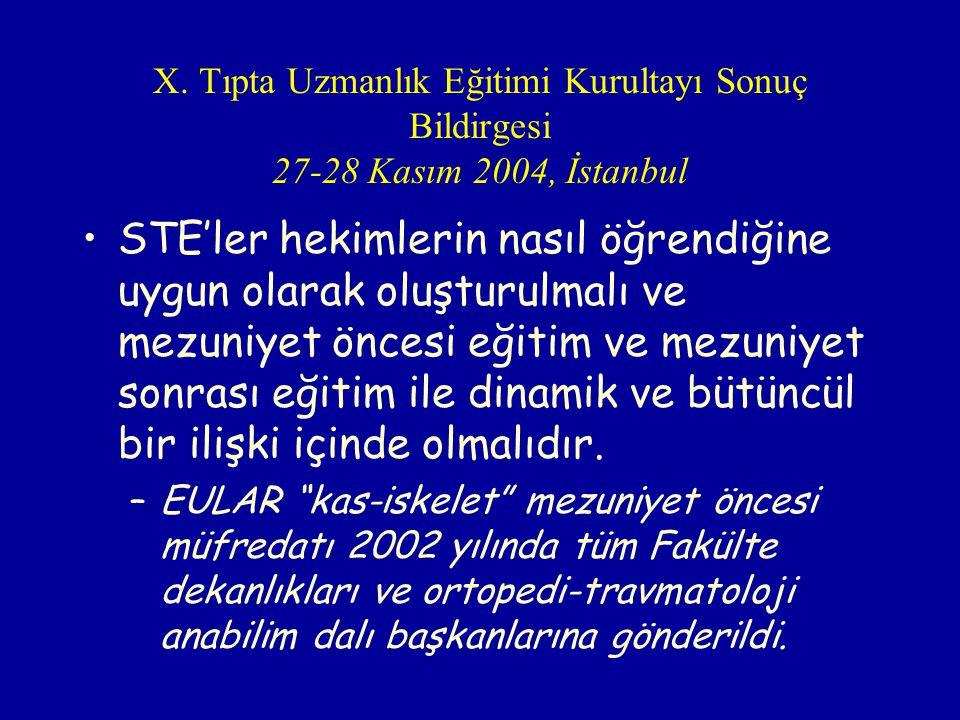 X. Tıpta Uzmanlık Eğitimi Kurultayı Sonuç Bildirgesi 27-28 Kasım 2004, İstanbul STE'ler hekimlerin nasıl öğrendiğine uygun olarak oluşturulmalı ve mez