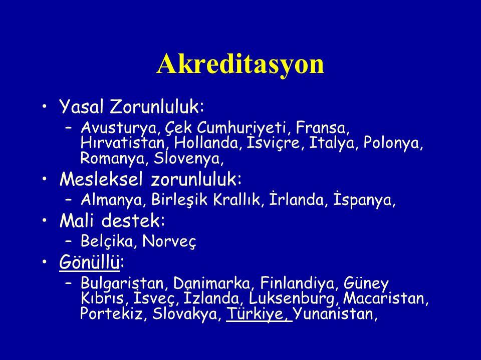 Akreditasyon Yasal Zorunluluk: –Avusturya, Çek Cumhuriyeti, Fransa, Hırvatistan, Hollanda, İsviçre, Italya, Polonya, Romanya, Slovenya, Mesleksel zoru