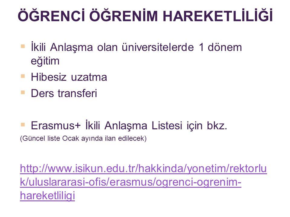  İkili Anlaşma olan üniversitelerde 1 dönem eğitim  Hibesiz uzatma  Ders transferi  Erasmus+ İkili Anlaşma Listesi için bkz. (Güncel liste Ocak ay