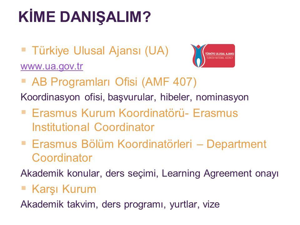 KİME DANIŞALIM?  Türkiye Ulusal Ajansı (UA) www.ua.gov.tr  AB Programları Ofisi (AMF 407) Koordinasyon ofisi, başvurular, hibeler, nominasyon  Eras
