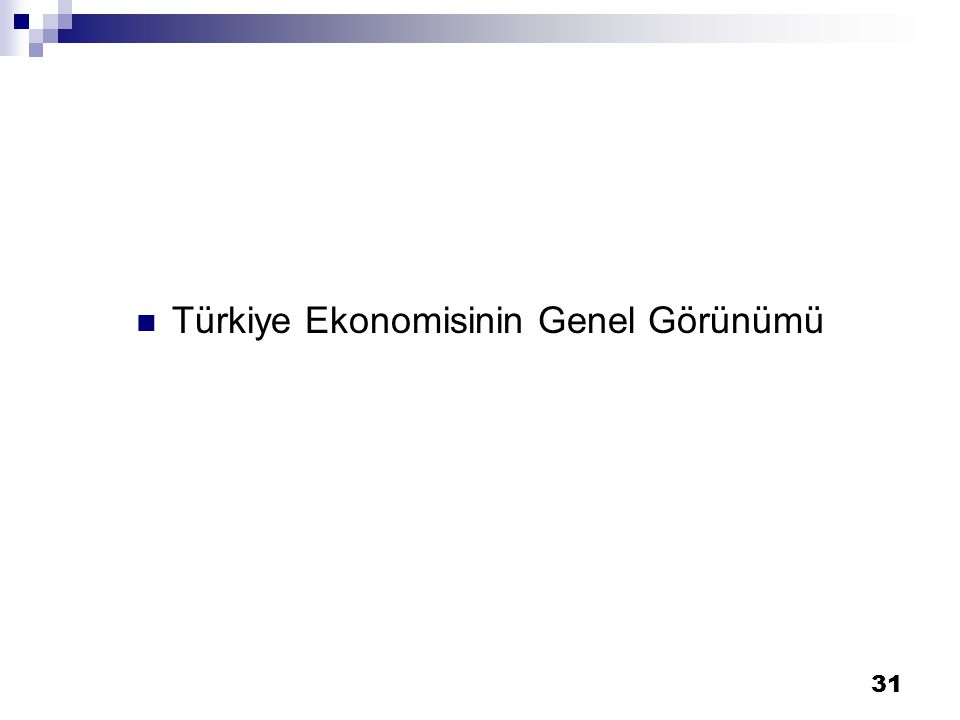 31 Türkiye Ekonomisinin Genel Görünümü