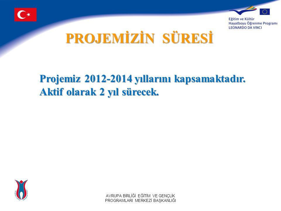 PROJEMİZİN SÜRESİ AVRUPA BİRLİĞİ EĞİTİM VE GENÇLİK PROGRAMLARI MERKEZİ BAŞKANLIĞI Projemiz 2012-2014 yıllarını kapsamaktadır.