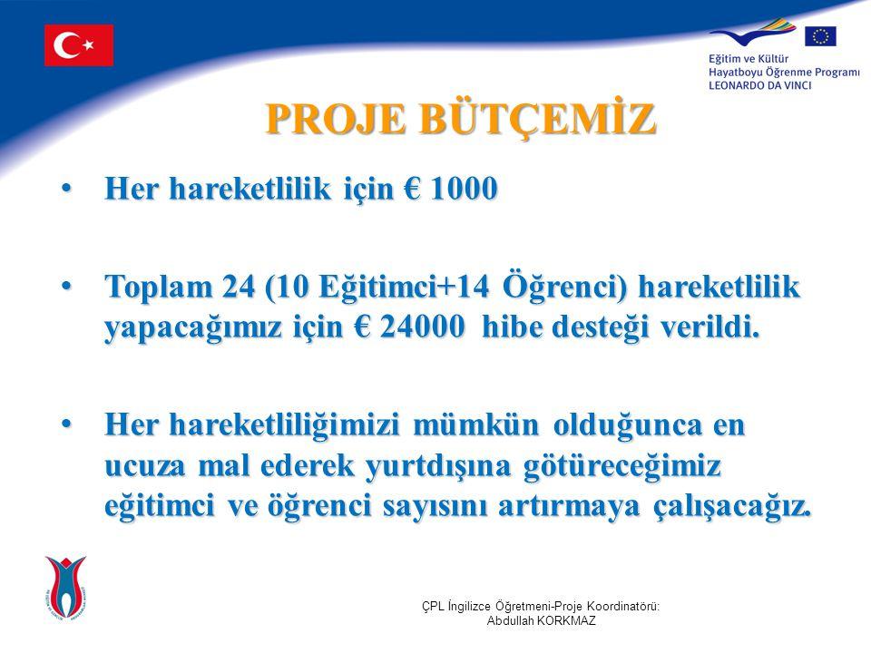 PROJE BÜTÇEMİZ Her hareketlilik için € 1000 Her hareketlilik için € 1000 Toplam 24 (10 Eğitimci+14 Öğrenci) hareketlilik yapacağımız için € 24000 hibe desteği verildi.