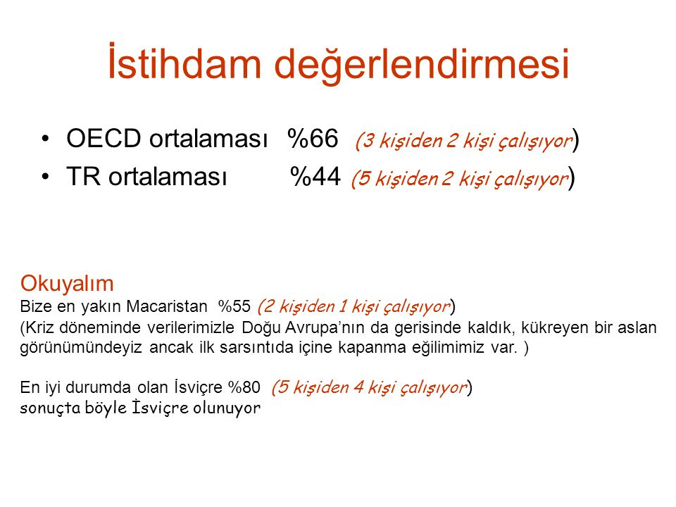 İstihdam değerlendirmesi OECD ortalaması %66 (3 kişiden 2 kişi çalışıyor ) TR ortalaması %44 (5 kişiden 2 kişi çalışıyor ) Okuyalım Bize en yakın Maca