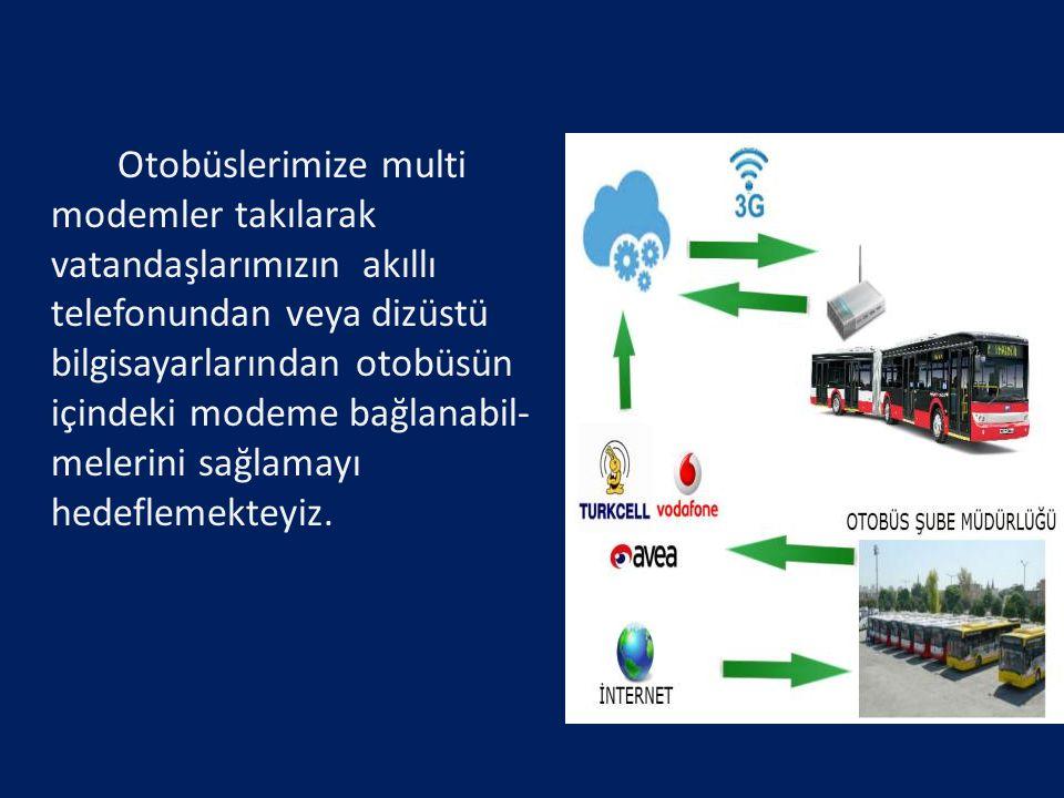 Otobüslerimize multi modemler takılarak vatandaşlarımızın akıllı telefonundan veya dizüstü bilgisayarlarından otobüsün içindeki modeme bağlanabil- mel