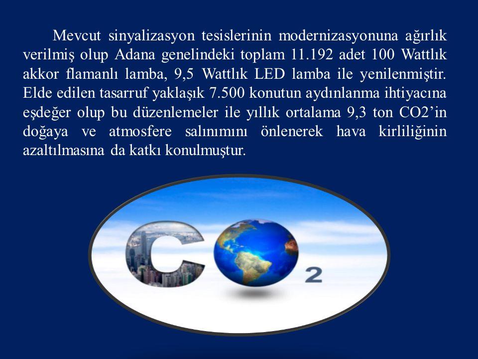 Mevcut sinyalizasyon tesislerinin modernizasyonuna ağırlık verilmiş olup Adana genelindeki toplam 11.192 adet 100 Wattlık akkor flamanlı lamba, 9,5 Wa