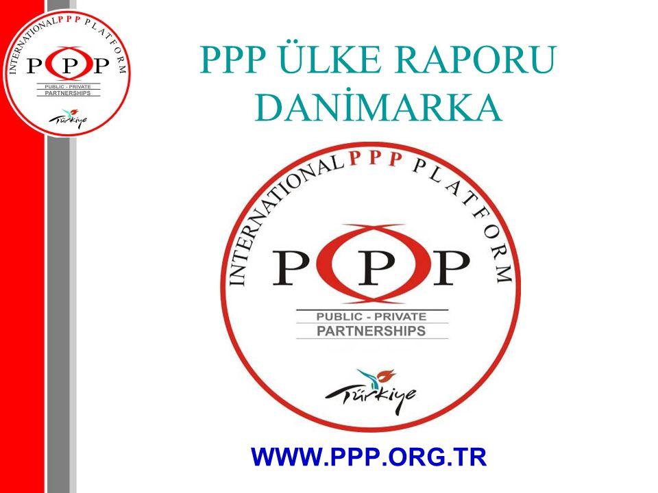 Danimarka PPP projelerini yürüten kurumlar, idari birimler ve teşkilat yapıları Danimarka PPP Genel Görünümü: Danimarka PPP piyasası yeni gelişmekte olan bir görünüm içinde olmakla beraber 2004 yılında ulusal ajans tarafından yapılan planlama ile Danimarka PPP projelerinin rotası çizilmiştir.