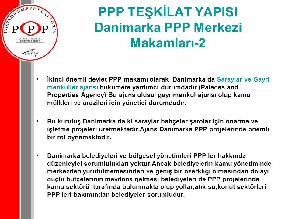 PPP TEŞKİLAT YAPISI Danimarka PPP Merkezi Makamları-2 İkinci önemli devlet PPP makamı olarak Danimarka da Saraylar ve Gayri menkuller ajansı hükümete