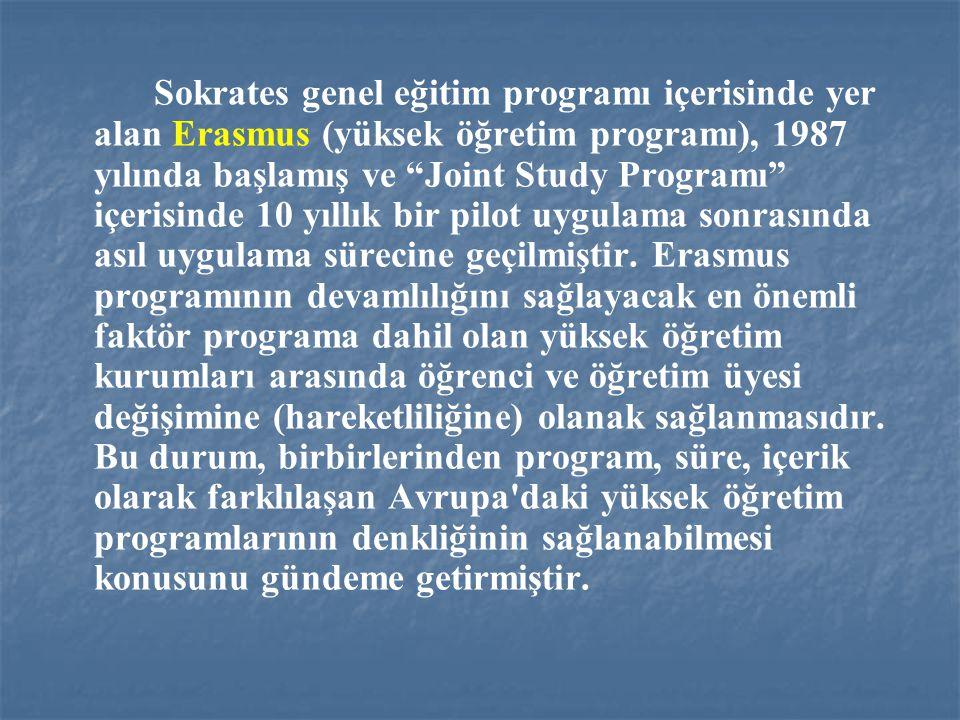 Sokrates genel eğitim programı içerisinde yer alan Erasmus (yüksek öğretim programı), 1987 yılında başlamış ve Joint Study Programı içerisinde 10 yıllık bir pilot uygulama sonrasında asıl uygulama sürecine geçilmiştir.