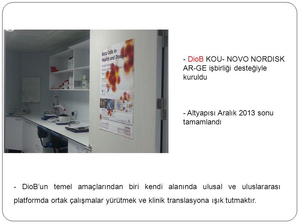 - DioB KOU- NOVO NORDISK AR-GE işbirliği desteğiyle kuruldu - Altyapısı Aralık 2013 sonu tamamlandı - DioB'un temel amaçlarından biri kendi alanında u