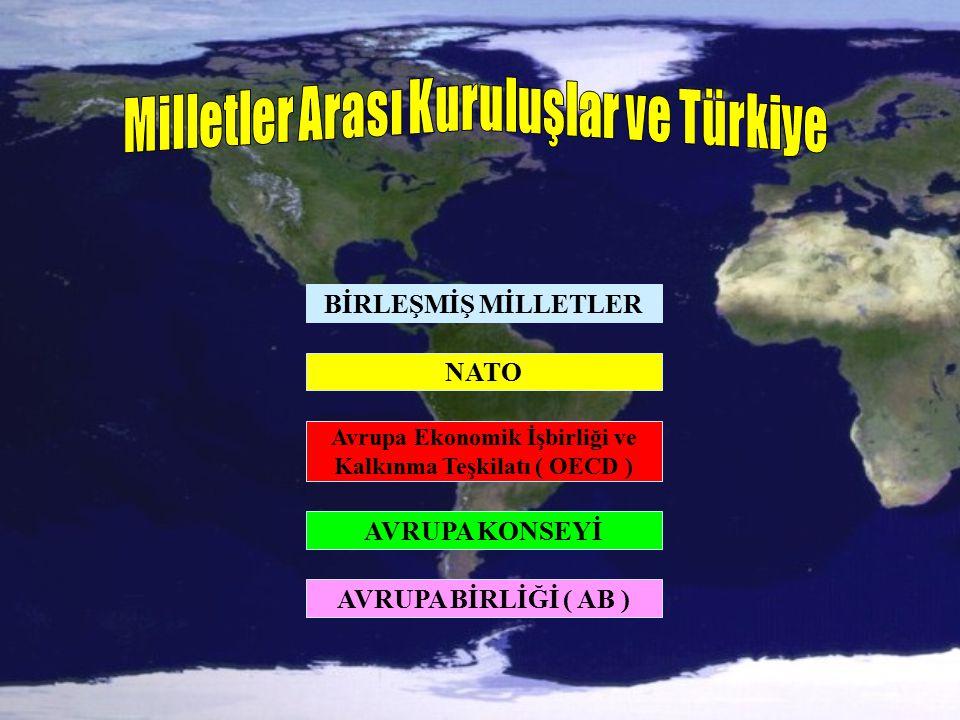 BİRLEŞMİŞ MİLLETLER NATO Avrupa Ekonomik İşbirliği ve Kalkınma Teşkilatı ( OECD ) AVRUPA KONSEYİ AVRUPA BİRLİĞİ ( AB )