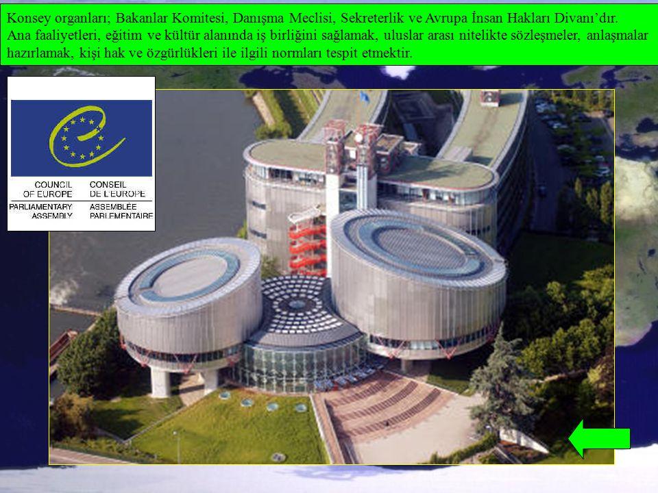 Konsey organları; Bakanlar Komitesi, Danışma Meclisi, Sekreterlik ve Avrupa İnsan Hakları Divanı'dır. Ana faaliyetleri, eğitim ve kültür alanında iş b