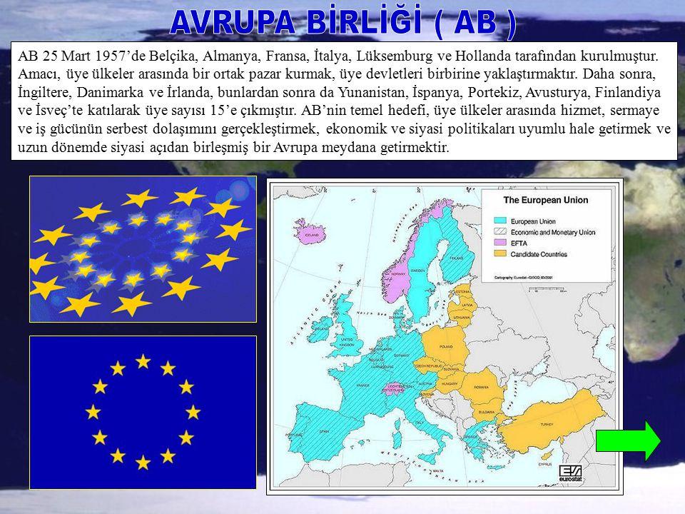 AB 25 Mart 1957'de Belçika, Almanya, Fransa, İtalya, Lüksemburg ve Hollanda tarafından kurulmuştur. Amacı, üye ülkeler arasında bir ortak pazar kurmak