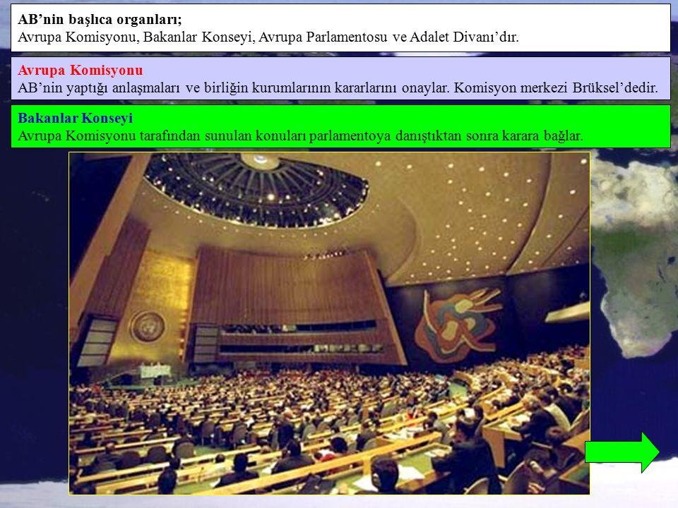 AB'nin başlıca organları; Avrupa Komisyonu, Bakanlar Konseyi, Avrupa Parlamentosu ve Adalet Divanı'dır. Avrupa Komisyonu AB'nin yaptığı anlaşmaları ve