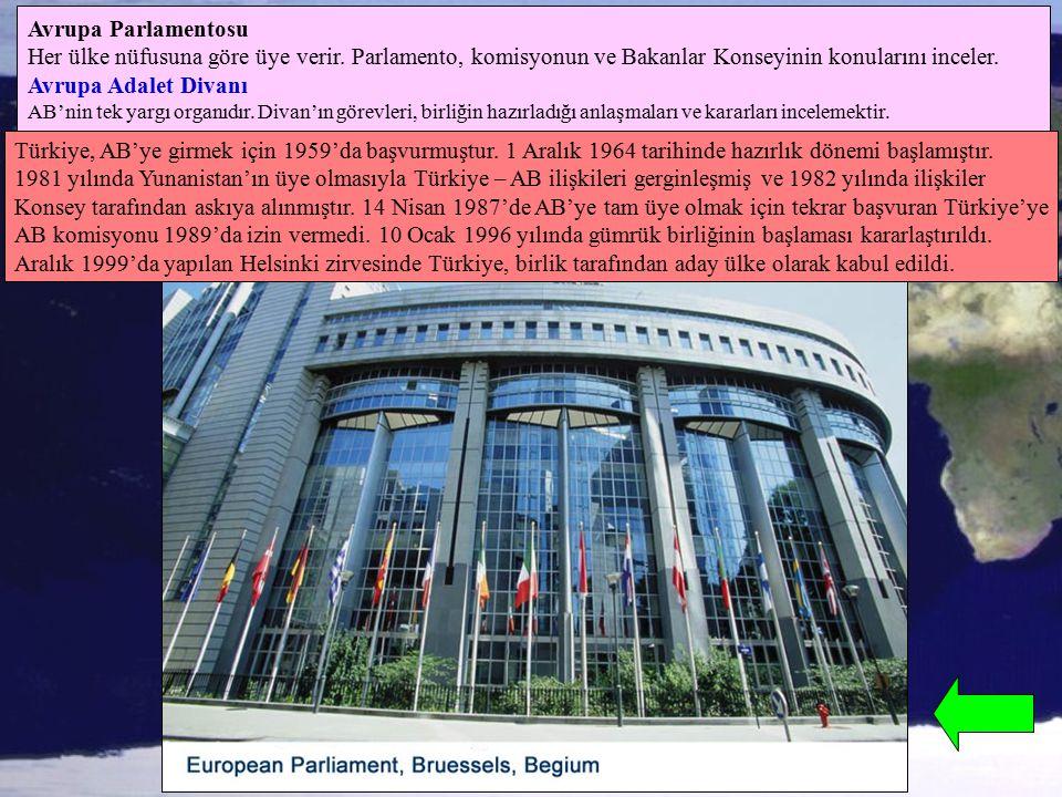 Avrupa Parlamentosu Her ülke nüfusuna göre üye verir. Parlamento, komisyonun ve Bakanlar Konseyinin konularını inceler. Avrupa Adalet Divanı AB'nin te