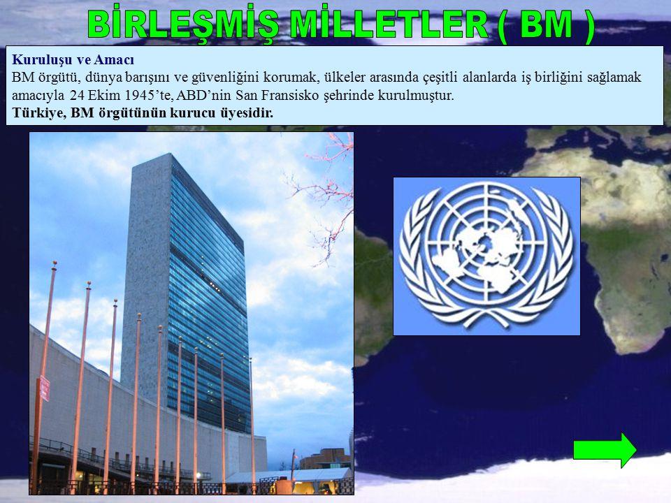 Kuruluşu ve Amacı BM örgütü, dünya barışını ve güvenliğini korumak, ülkeler arasında çeşitli alanlarda iş birliğini sağlamak amacıyla 24 Ekim 1945'te,