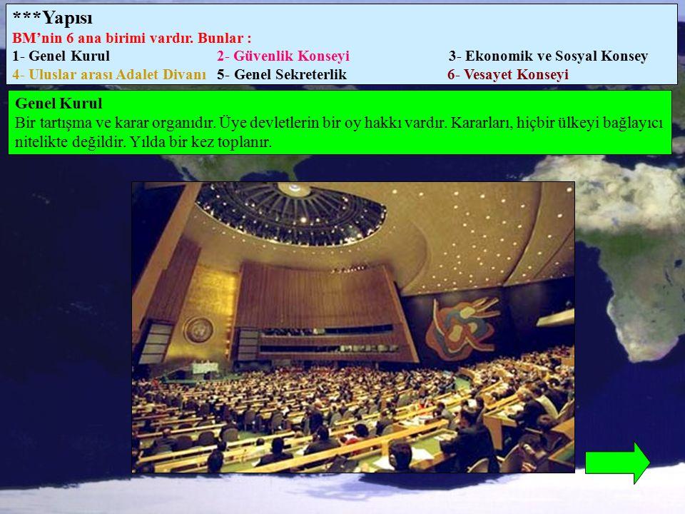 ***Yapısı BM'nin 6 ana birimi vardır. Bunlar : 1- Genel Kurul 2- Güvenlik Konseyi 3- Ekonomik ve Sosyal Konsey 4- Uluslar arası Adalet Divanı 5- Genel
