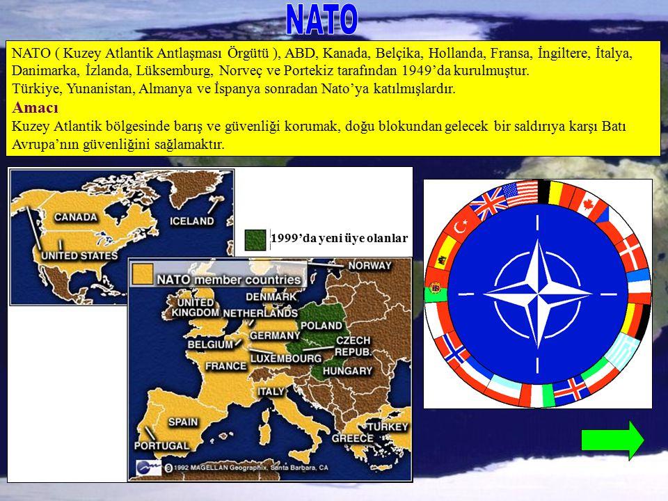 NATO ( Kuzey Atlantik Antlaşması Örgütü ), ABD, Kanada, Belçika, Hollanda, Fransa, İngiltere, İtalya, Danimarka, İzlanda, Lüksemburg, Norveç ve Portek
