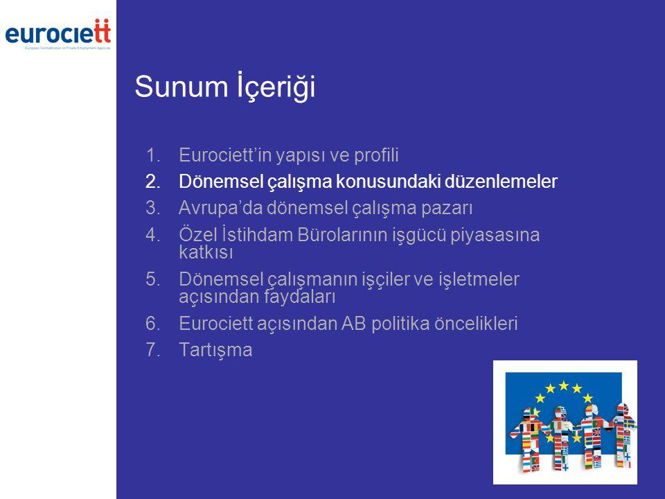 Sunum İçeriği 1.Eurociett'in yapısı ve profili 2.Dönemsel çalışma konusundaki düzenlemeler 3.Avrupa'da dönemsel çalışma pazarı 4.Özel İstihdam Bürolar