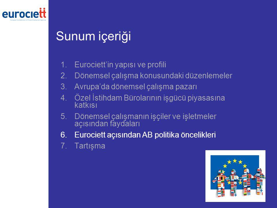 Sunum içeriği 1.Eurociett'in yapısı ve profili 2.Dönemsel çalışma konusundaki düzenlemeler 3.Avrupa'da dönemsel çalışma pazarı 4.Özel İstihdam Bürolarının işgücü piyasasına katkısı 5.Dönemsel çalışmanın işçiler ve işletmeler açısından faydaları 6.Eurociett açısından AB politika öncelikleri 7.Tartışma