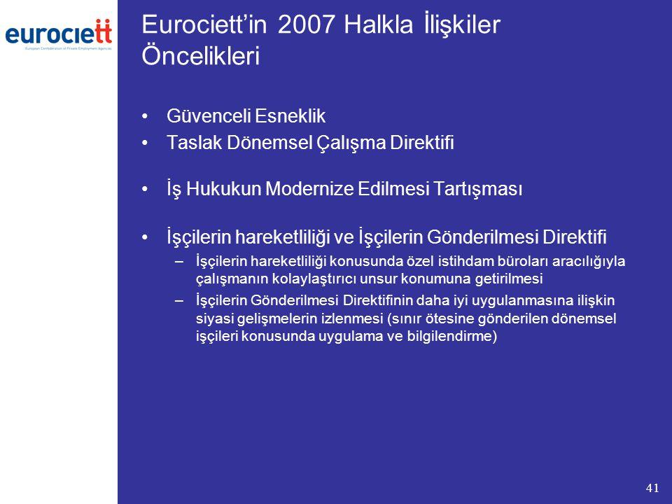 41 Eurociett'in 2007 Halkla İlişkiler Öncelikleri Güvenceli Esneklik Taslak Dönemsel Çalışma Direktifi İş Hukukun Modernize Edilmesi Tartışması İşçilerin hareketliliği ve İşçilerin Gönderilmesi Direktifi –İşçilerin hareketliliği konusunda özel istihdam büroları aracılığıyla çalışmanın kolaylaştırıcı unsur konumuna getirilmesi –İşçilerin Gönderilmesi Direktifinin daha iyi uygulanmasına ilişkin siyasi gelişmelerin izlenmesi (sınır ötesine gönderilen dönemsel işçileri konusunda uygulama ve bilgilendirme)